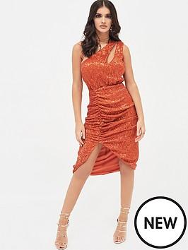 lavish-alice-pleated-sequin-one-shoulder-ruched-midi-dress-orange