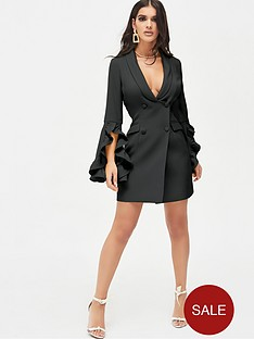 lavish-alice-ruffle-bell-sleeve-mini-blazer-dress-black