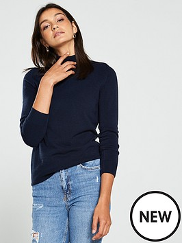 v-by-very-supersoft-turtleneck-button-detail-jumper-dark-navy
