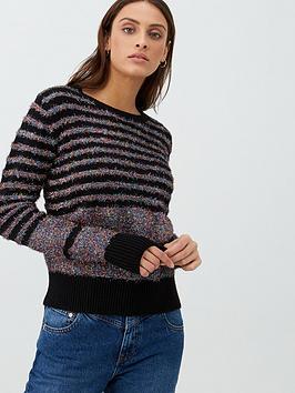 v-by-very-rainbow-tinsel-stripe-jumper-black