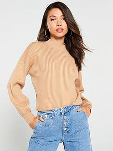 v-by-very-co-ord-wide-rib-jumper-tan