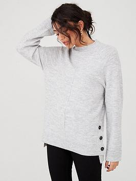 v-by-very-button-side-cuff-and-hem-jumper-grey-marlnbsp