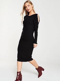 v-by-very-popper-sleeve-knitted-midi-dress-black