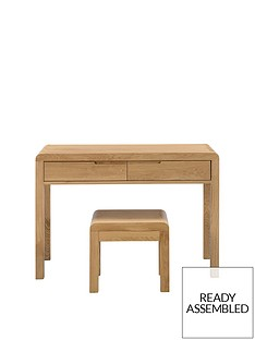 julian-bowen-newman-curve-2-drawer-solid-oakoak-veneer-dressing-table-and-stool-set