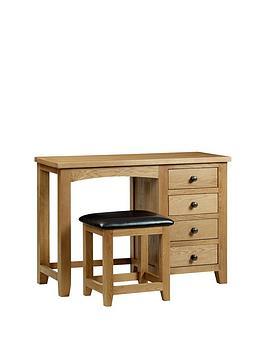 Julian Bowen Julian Bowen Marlborough Solid Oak/Oak Veneer Single Pedestal  ... Picture