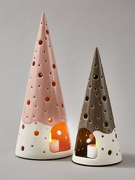 Very Set Of 2 Christmas Tree Tealight Holders Picture