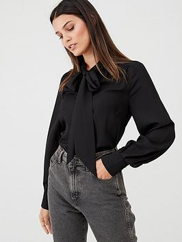 v-by-very-pussybow-blouse-black
