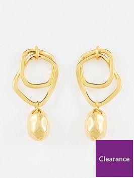 whistles-double-hoop-hammered-bead-earrings-gold