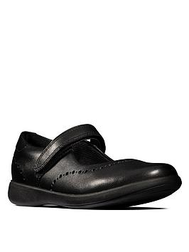 Clarks  Etch Craft School Shoes - Black Leather