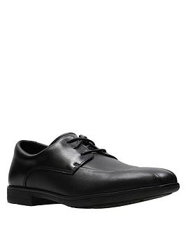 Clarks Clarks Youth Willis Lad Lace Up School Shoes - Black Leather Picture