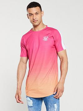 sik-silk-curved-hem-raglan-fade-t-shirt-pinkorange