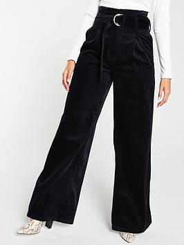 v-by-very-high-waist-wide-leg-belted-cord-trouser-navy