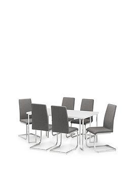 Julian Bowen Julian Bowen Manhattan Gloss 150 Cm Dining Table + 6 Roma  ... Picture