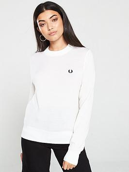 Fred Perry Fred Perry Ribbed Crew Neck Jumper - White Picture