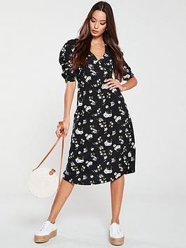 V by Very V By Very Ruched Sleeve Midi Dress - Black Floral Picture