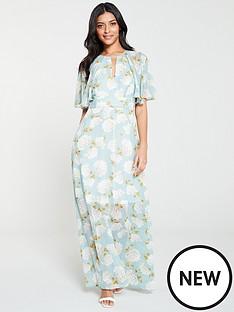 55724e4273 V by Very Light Floral Print Kimono Maxi Dress - Blue Floral