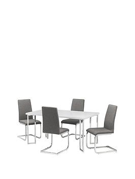 Julian Bowen Julian Bowen Manhattan Gloss 150 Cm Dining Table + 4 Roma  ... Picture