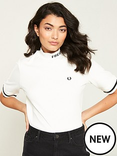44351e4702a3 Fred Perry High Neck T-Shirt - White | littlewoods.com