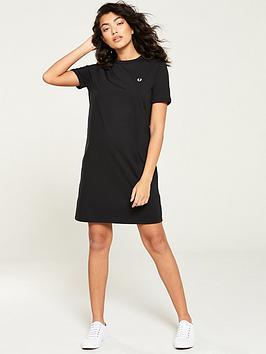 fred-perry-ringer-t-shirt-dress-black