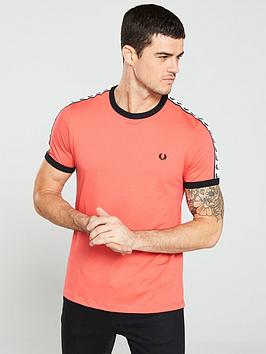 fred-perry-taped-ringer-t-shirt-tropical-red