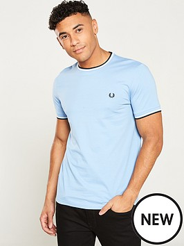 5216062ab055 Fred Perry Twin Tipped T-Shirt - Sky Blue | littlewoods.com