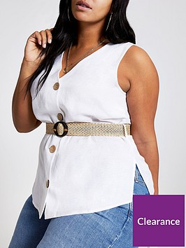 ri-plus-button-down-belted-top--white