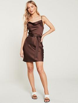 river-island-river-island-cowl-neck-belted-slip-dress--chocolate
