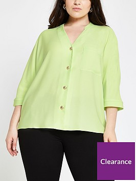 ri-plus-button-through-blouse--lime