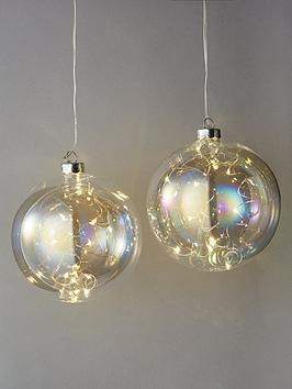 Very Light Up Glass Christmas Tree Baubles (Set Of 2) Picture