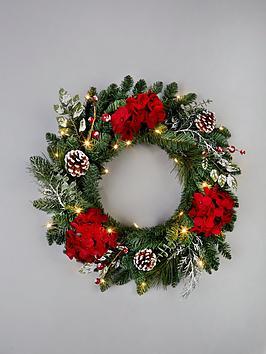 pre-lit-hydrangea-christmas-wreath-in-red