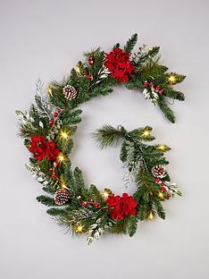 pre-lit-hydrangea-christmas-garland-in-red