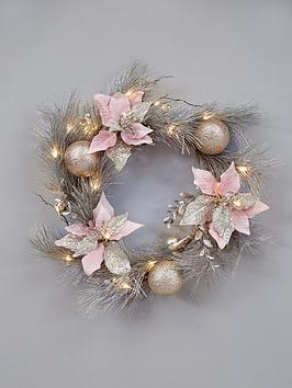 midnight-rose-pre-lit-christmas-door-wreath-ndash-60-cm