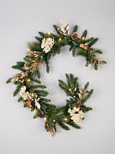 pre-lit-hydrangea-christmas-garland-in-gold-ndash-180-cm