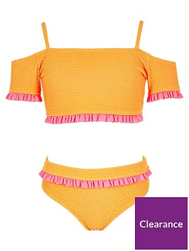 river-island-girls-frill-sleeve-bardot-swim-set-orange