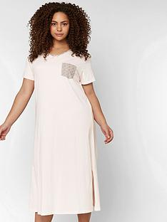 77ce9e70e8a Evans Plain Longline Night Dress - Pale Pink