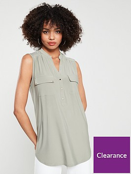 wallis-sleeveless-blouse-khaki