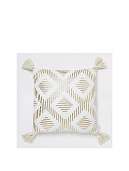 river-island-gold-print-cushion-with-tassels