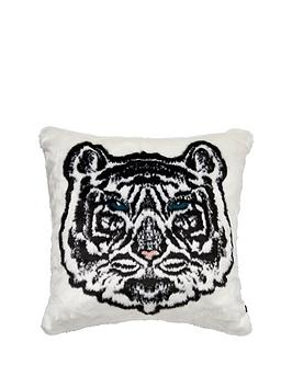 River Island River Island Ri Faux Fur White Tiger Cushion Picture