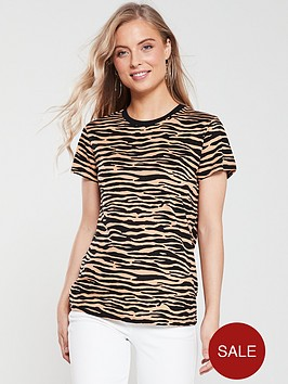 warehouse-tiger-print-t-shirt-brown