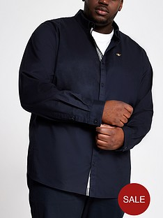 river-island-long-sleeve-navy-big-tall-oxford-shirt