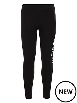 the-north-face-girls-cotton-blend-logo-leggings-blackwhite