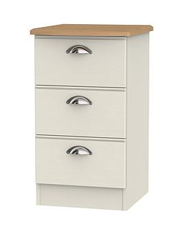 Swift Swift Charlotte Ready Assembled 3 Drawer Bedside Cabinet With  ... Picture