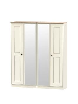 Swift Swift Charlotte Part Assembled 4 Door Mirrored Wardrobe Picture