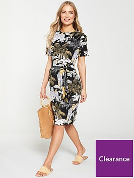 v-by-very-tropical-print-belted-dress-black