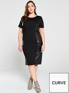 junarose-curve-monica-pu-side-bodycon-dress-black
