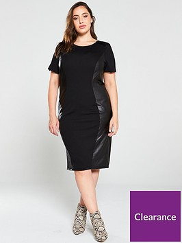 junarose-curve-monica-pu-side-bodycon-dress-black