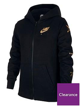 nike-air-girls-g-nsw-fleece-full-zip-hoodie-blackgold