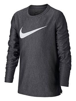 Nike Nike Kids Dry Long Sleeve T-Shirt - Black/White Picture