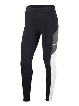 Nike Nike Girls Heritage Colourblock Trophy Leggings - Black/Grey Picture
