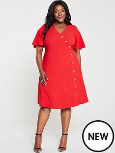 junarose-abine-button-front-dress-red